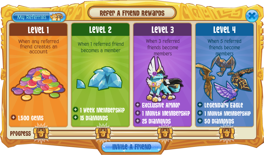 Image of: Wildworks When You Have Five Referred Friends That Purchase Membership From Animaljamcomjoin You Will Unlock Tier 4 Including The Legendary Eagle An Additional Fandom What Is The Refer Friend Program In Animal Jam Animal Jam Help